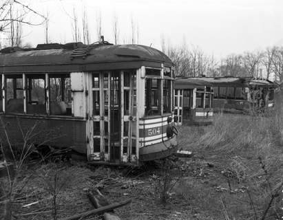 April 24, 1951: Old streetcars are seen rusting inthe junkyard of American Iron and metal Company on Calhoun Street. The cars were expected to be cut up for scrap.