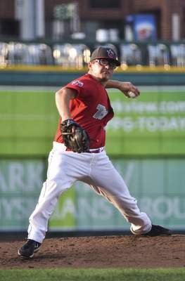 Katie Fyfe   The Journal Gazette  The TinCaps' Danny Denz delivers a pitch during the second inning against the Dayton Dragons at Parkview Field on Wednesday.