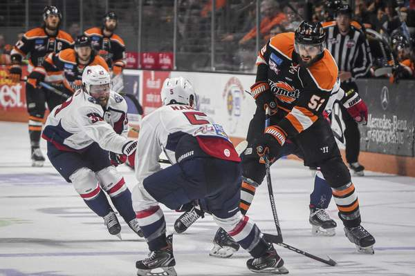 Mike Moore  The Journal Gazette  Former Komets defenseman Mathieu Brodeur, right, is one of three players from the Cup-winning team, so far, who are now with the expansionTrois-Rivières Lions.