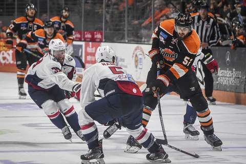 Mike Moore| The Journal Gazette  Former Komets defenseman Mathieu Brodeur, right, is one of three players from the Cup-winning team, so far, who are now with the expansionTrois-Rivières Lions.