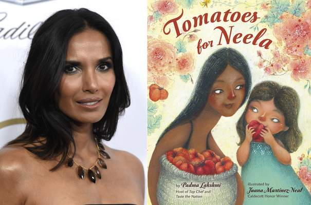 Padma Lakshmi appears at the Producers Guild Awards in Beverly Hills, Calif., on Jan. 19, 2019, left, and cover art for Tomatoes for Neela, a children's book written by Lakshmi, with illustrations by Juana Martinez-Neal. The book mixes the author's memories of cooking with her family with practical food advice, a nod to farmworkers and even a pair of recipes. (AP Photo, left, and  Viking Books for Young Readers via AP)