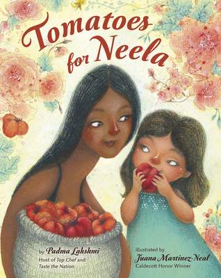 This cover image released by Viking Books for Young Readers shows Tomatoes for Neela, a children's book written by Padma Lakshmi, with illustrations by Juana Martinez-Neal. The book mixes the author's memories of cooking with her family with practical food advice, a nod to farmworkers and even a pair of recipes. (Viking Books for Young Readers via AP)