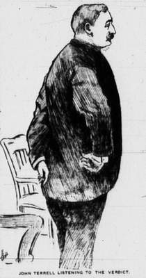 This courtroom drawing of John W. Terrell listening to the jury's verdict appeared in the Dec. 21, 1903, edition of The Journal Gazette.