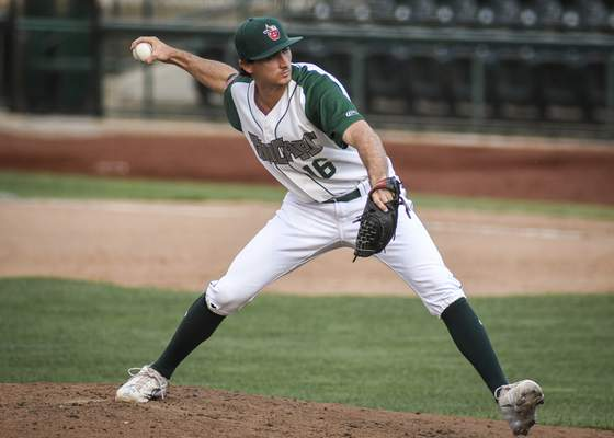 Mike Moore   The Journal Gazette TinCaps pitcher Sam Keating delivers the pitch in the seventh inning against the Lugnuts in game one of a doubleheader at Parkview Field on Wednesday.