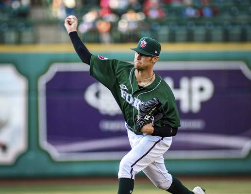 Mike Moore   The Journal Gazette TinCaps pitcher Gabe Mosser delivers to home on Thursday against the Lugnuts.