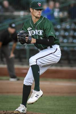 Mike Moore   The Journal Gazette TinCaps pitcher Gabe Mosser on the mound Thursday pitching in the second inning against Lansing at Parkview Field.