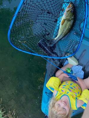 Imogene Shank-Sharbonno, 3, from Minneapolis, caughther first bass in Ely, Minn., making hergrandparents Tom and Cindy Shank of Fort Wayne proud. The largemouth bass was caught using a Paw Patrol rod from the back of her father's kayak.