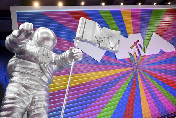 FILE - A statue of the MTV Moon Man appears on the red carpet at the MTV Video Music Awards in New York on Aug. 20, 2018. The 2021 MTV Video Music Awards will air Sunday night at 8 p.m. EDT. (Photo by Evan Agostini/Invision/AP, File)