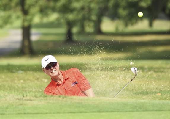 Katie Fyfe | The Journal Gazette Brian Gottwald hits out of a sand trap onto the green at the third hole during the final round of the Senior City Golf Championship at Orchard Ridge Country Club on Monday.
