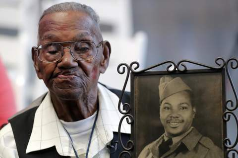 Oldest WWII Vet Birthday FILE - In this Sept. 12, 2019 file photo, World War II veteran Lawrence Brooks holds a photo of him taken in 1943, as he celebrates his 110th birthday at the National World War II Museum in New Orleans. (AP Photo/Gerald Herbert, File) (Gerald Herbert STF)