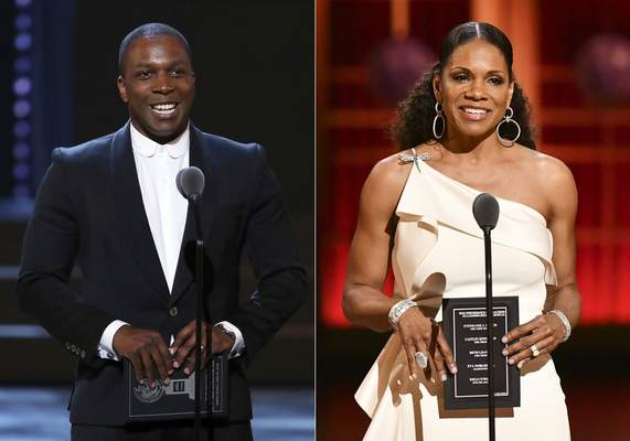 Leslie Odom Jr. presents an award at the 72nd annual Tony Awards in New York on June 10, 2018, left, and Audra McDonald presents an award at the 73rd annual Tony Awards in New York on June 9, 2019. (AP Photo)
