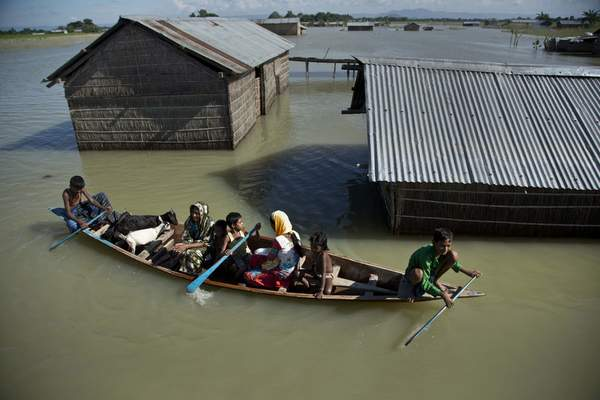 FILE - In this July 31, 2016, file photo, a flood-affected family with their goats travel on a boat in the Morigaon district, east of Gauhati, northeastern Assam state, India. (AP Photo/Anupam Nath, File)