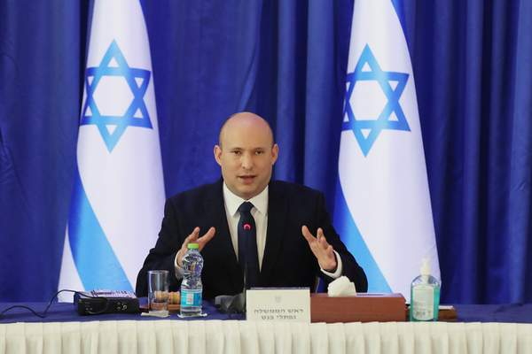 Israeli Prime Minister Naftali Bennett attends a cabinet meeting at the Ministry of Foreign Affairs office in Jerusalem on Saturday, Sept. 11, 2021. (Abir Sultan/Pool Photo via AP)