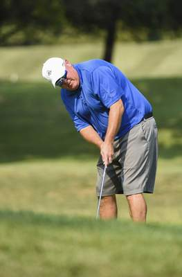 Katie Fyfe | The Journal Gazette Tim Wagner pictured at the 17th hole during the first round of the Senior City Golf Championship at Orchard Ridge Country Club on Sunday.