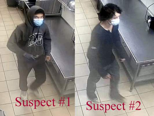Courtesy Fort Wayne Police Department. Fort Wayne police are looking for two suspects they say burglarized the Subway restaurant on Stellhorn Road.