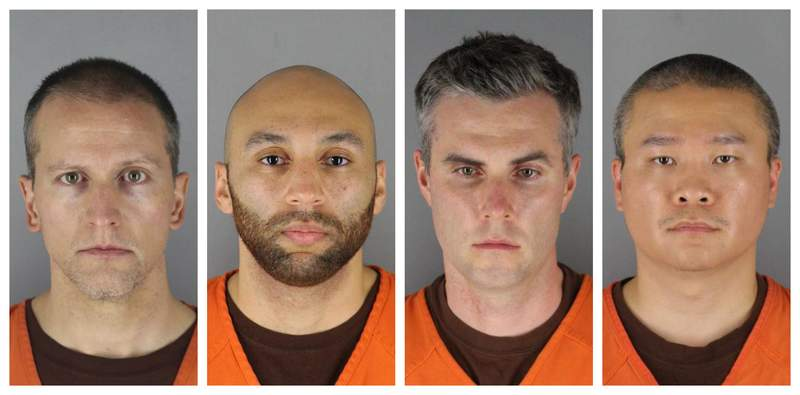 FILE - This combination of photos provided by the Hennepin County Sheriff's Office in Minnesota on Wednesday, June 3, 2020, shows from left, former Minneapolis police officers Derek Chauvin, J. Alexander Kueng, Thomas Lane and Tou Thao. (Hennepin County Sheriff's Office via AP File)