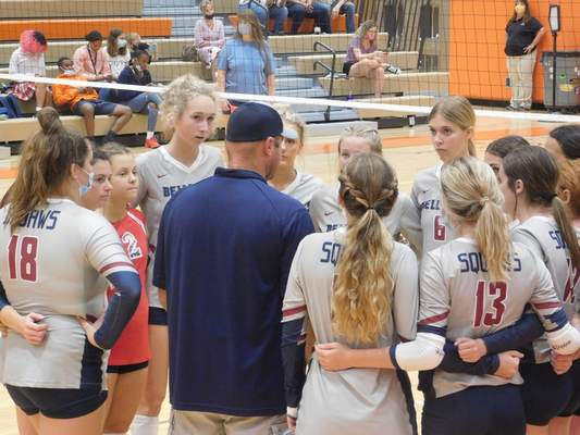 Victoria Jacobsen | The Journal Gazette Bellmont coach Craig Krull talks with his team during a timeout in Tuesday's win over Northrop, the 500th of his career.