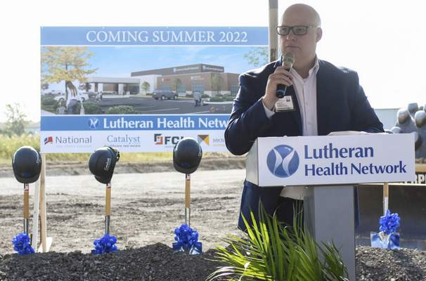 Michelle Davies | The Journal Gazette Scott Teffeteller, chief executive officer of Lutheran Health Network, speaks at a groundbreaking Tuesday morning for the system's new facility on Lima Road in Huntertown.