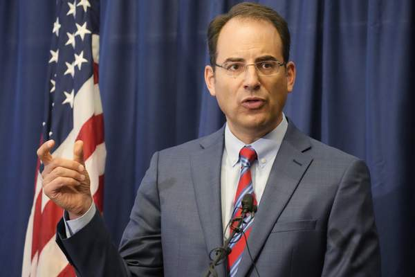Colorado Attorney General Phil Weiser speaks at a news conference in Denver, Wednesday, Sept. 15, 2021. (AP Photo/David Zalubowski)