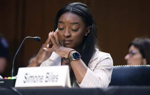Doctor Sexual Assault FBI United States Olympic gymnast Simone Biles testifies during a Senate Judiciary hearing about the Inspector General's report on the FBI's handling of the Larry Nassar investigation on Capitol Hill, Wednesday, Sept. 15, 2021, in Washington. (Saul Loeb/Pool via AP) (Saul LoebPOOL)