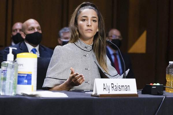 United States Olympic gymnast Aly Raisman testifies during a Senate Judiciary hearing about the Inspector General's report on the FBI's handling of the Larry Nassar investigation on Capitol Hill, Wednesday, Sept. 15, 2021, in Washington. (Graeme Jennings/Pool via AP)