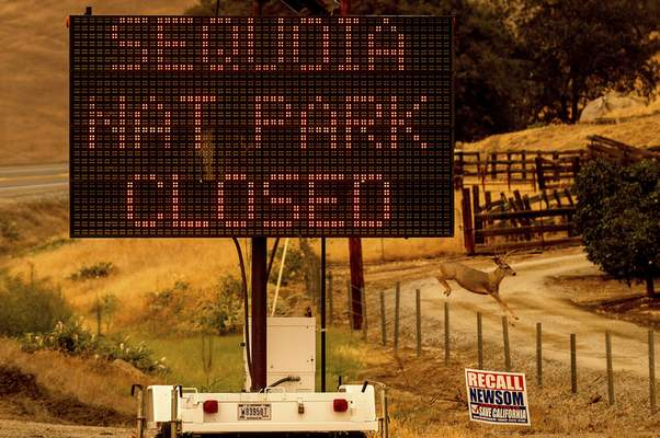 A sign announces the closure of Sequoia National Park, where the KNP Complex Fires are burning, Tuesday, Sept. 14, 2021, in Tulare County, Calif. (AP Photo/Noah Berger)