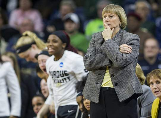 Purdue head coach Sharon Versyp looks on during a second-round game against Notre Dame in the NCAA women's college basketball tournament, Sunday, March 19, 2017, in South Bend, Ind. Notre Dame won 88-82. (AP Photo/Robert Franklin)