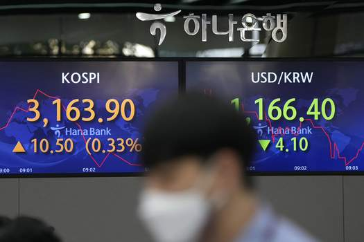 South Korea Financial Markets A currency trader walks by screens showing the Korea Composite Stock Price Index (KOSPI), left, and the foreign exchange rate between U.S. dollar and South Korean won at a foreign exchange dealing room in Seoul, South Korea, Thursday, Sept. 16, 2021. (AP Photo/Lee Jin-man) (Lee Jin-man STF)