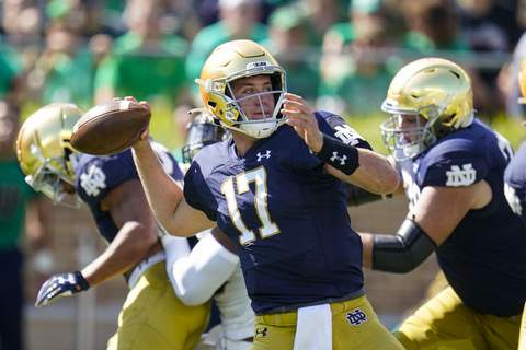 Purdue Notre Dame Football Notre Dame quarterback Jack Coan (17) throws against Purdue during the first half of an NCAA college football game in South Bend, Ind., Saturday, Sept. 18, 2021. (AP Photo/Michael Conroy) (Michael Conroy STF)