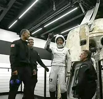 Private Spaceflight Associated Press In an image from video, Sian Proctor reacts after emerging from the capsule Saturday. (HONS)
