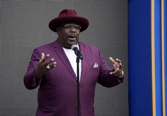 Cedric the Entertainer, host of Sunday's 73rd Primetime Emmy Awards, addresses the media during the show's Press Preview Day, Wednesday, Sept. 14, 2021, at the Television Academy in Los Angeles. (AP Photo/Chris Pizzello)