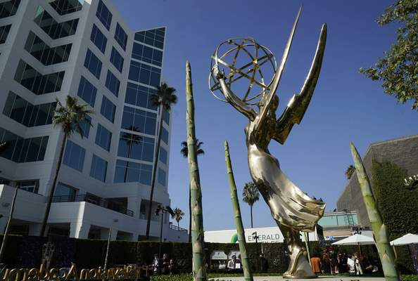 An Emmy statue is pictured during Press Preview Day for the 73rd Primetime Emmy Awards, Wednesday, Sept. 14, 2021, at the Television Academy in Los Angeles. (AP Photo/Chris Pizzello)