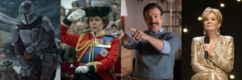 This combination of photos shows, from left, Pedro Pascal in The Mandalorian, Olivia Colman in The Crown, Jason Sudeikis in Ted Lasso and Jean Smart in Hacks. (Disney+/Netflix/Apple TV+/HBO Max via AP)