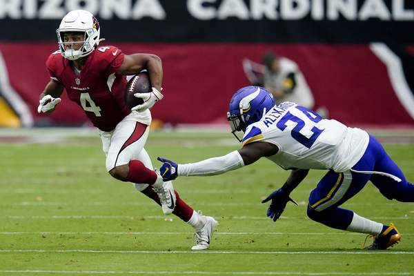 Associated Press Rondale Moore, the Cardinals' rookie wide receiver out of Purdue, caught seven passes for 114 yards including a touchdown in Arizona's win over Minnesota.