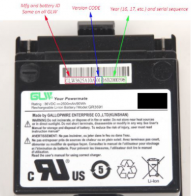 Label on recalled GLW battery pack.