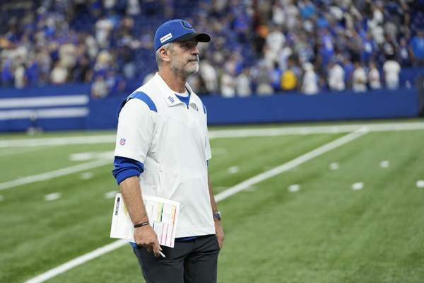 Indianapolis Colts head coach Frank Reich walks off the field following an NFL football game against the Los Angeles Rams, Sunday, Sept. 19, 2021, in Indianapolis. Los Angeles won 27-24. (AP Photo/AJ Mast)