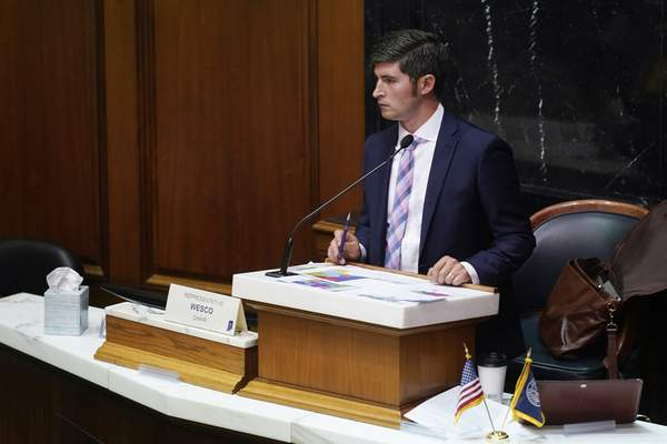 Rep. Tim Wesco, R-Osceola, listens during a public hearing on the redistricting plan at the Statehouse, Thursday, Sept. 16, 2021, in Indianapolis. (AP Photo/Darron Cummings)