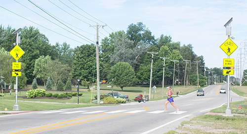 File The Pufferbelly Trail crossing on Wallen Road has numerous indicators for both walkers and drivers.
