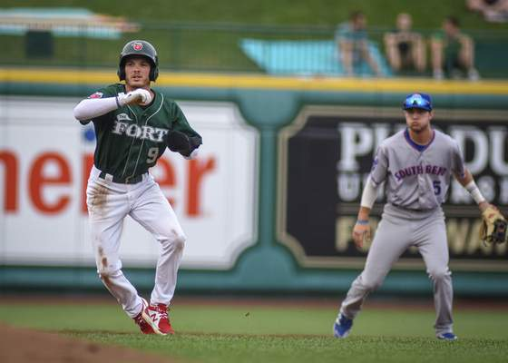 Mike Moore | The Journal Gazette TinCaps outfielder Grant Littlestole a franchise record five bases on Aug. 5 in a win over Great Lakes.