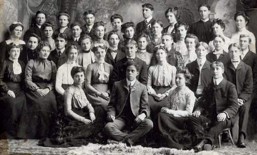 Courtesy Manchester University Archives: Joseph Cunningham, seated in front center, was part of the university's Lincoln Society in this March 1903 photo.