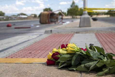 Deadly Balloon Crash FILE - In this June 26, 2021, file photo, a bouquet of flowers from a mourner is placed near the basket of a hot air balloon which crashed in Albuquerque, N.M. (AP Photo/Andres Leighton, File) (Andres Leighton FRE)