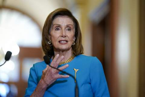 Congress Budget Speaker of the House Nancy Pelosi, D-Calif., talks to reporters as she welcomes Australian Prime Minister Scott Morrison, at the Capitol in Washington, Wednesday, Sept. 22, 2021. (AP Photo/J. Scott Applewhite) (J. Scott Applewhite STF)