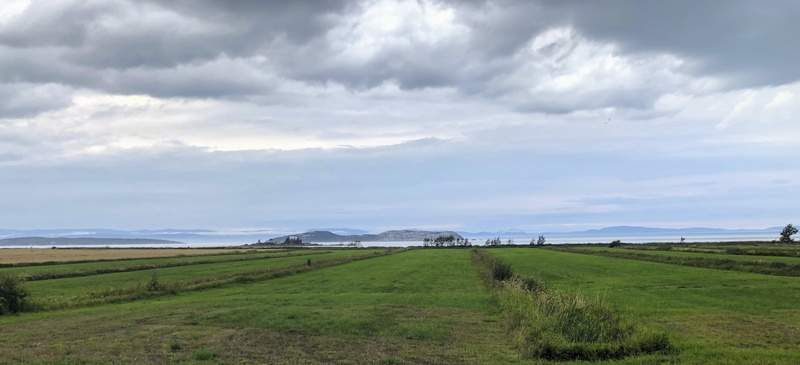 One of Quebec's most cherished bicycling routes takes cyclists through vistas like this one, looking out on the islands and wide waters of the St. Lawrence River near the village of Kamouraska, Sept. 8, 2021. (AP Photo/Calvin Woodward)