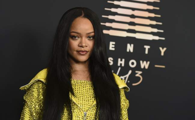 Musician and entrepreneur Rihanna attends an event for her lingerie line Savage X Fenty at the Westin Bonaventure Hotel in Los Angeles on on Aug. 28, 2021. (Photo by Jordan Strauss/Invision/AP)