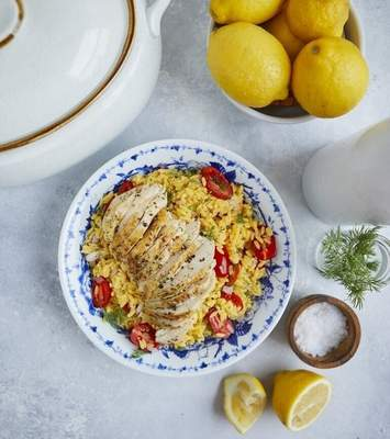 This image released by Simon & Schuster shows a recipe for herb-crusted roasted chicken from the book Cook Once Dinner Fix: Quick and Exciting Ways to Transform Tonight's Dinner into Tomorrow's Feast by Cassy Joy Garcia. (Kristen Kilpatrick/Simon & Schuster via AP)