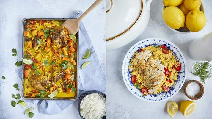 This combination of images released by Simon & Schuster shows recipes for curried chicken sheet pan dinner, left, and herb-crusted roasted chicken from the book Cook Once Dinner Fix: Quick and Exciting Ways to Transform Tonight's Dinner into Tomorrow's Feast by Cassy Joy Garcia. (Kristen Kilpatrick/Simon & Schuster via AP)