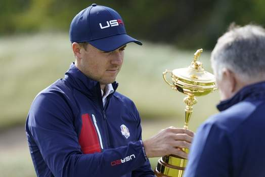 Ryder Cup Golf Associated Press Jordan Spieth looks at the Ryder Cup before a team photo during a practice day Wednesday in Sheboygan, Wis. (Charlie NeibergallSTF)