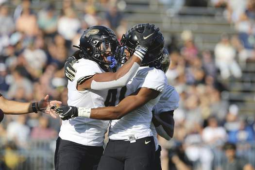 Purdue Connecticut Football Associated Press Purdue will be missing receiver Mershawn Rice, left, and possibly David Bell against Illinois, so Milton Wright, right, may be counted on to pick up the slack. (Stew MilneFRE)