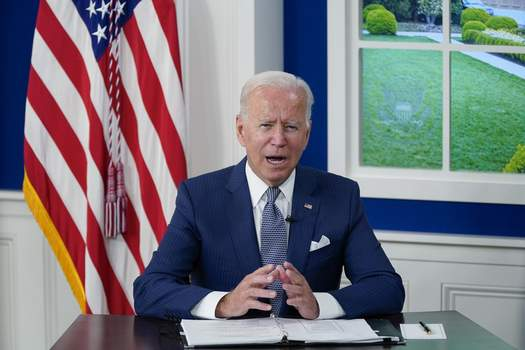 Biden President Joe Biden speaks during a virtual COVID-19 summit during the 76th Session of the United Nations General Assembly, in the South Court Auditorium on the White House campus, Wednesday, Sept. 22, 2021, in Washington. (AP Photo/Evan Vucci) (Evan VucciSTF)