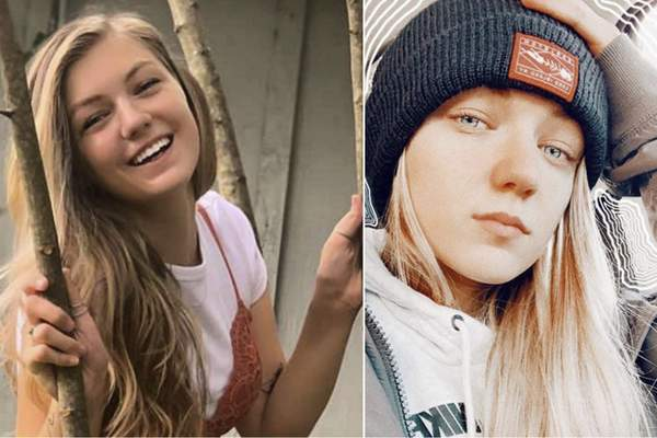 This combo of photos provided by FBI Denver via @FBIDenver shows missing person Gabrielle Gabby Petito. Petito, 22, vanished while on a cross-country trip in a converted camper van with her boyfriend. Authorities say a body discovered Sunday, Sept. 19, 2021, in Wyoming, is believed to be Petito. (Courtesy of FBI Denver via AP)